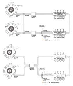 Рекомендуемая схема подключения 2-х редукторов к газовой системе.