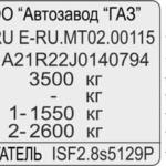 Идентификационные номера ГАЗель Next.