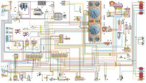 Схема электрооборудования автомобилей ГАЗель с двигателями ЗМЗ-4061,-4063 (панель приборов старого образца).