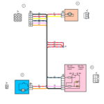 Схема электрических соединений жгута проводов дополнительного заднего правого (задней двери) ВАЗ 2170 (Приора).