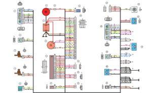 Схема электрических соединений жгута проводов переднего автомобилей Лада Калина 11174, 11194.