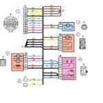 Схема электрических соединений жгута проводов дополнительного заднего правого (жгута проводов правой передней двери) автомобилей Лада Калина 11174, 11184, 11184.