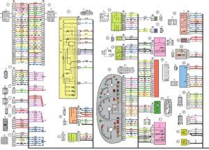 Схемы электрических соединений жгута проводов панели приборов автомобилей Лада Калина 11174, 11184, 11184.