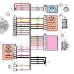 Схема электрических соединений жгута проводов дополнительного заднего левого (жгута проводов левой передней двери) автомобилей Лада Калина 11174, 11184, 11184.