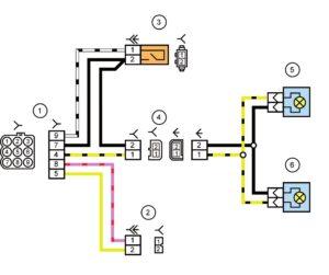 Схема электрических соединений жгута проводов заднего дополнительного (жгута проводов крышки багажника) и жгута проводов фонарей освещения номерного знака автомобиля Лада Калина 11184.