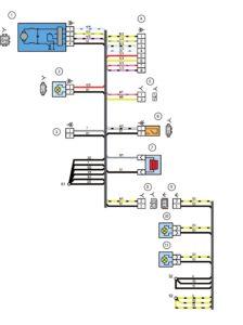 Схема электрических соединений жгута проводов дополнительного заднего (жгута проводов двери задка) и жгута проводов фонарей освещения номерного знака автомобиля Лада Калина 11174.
