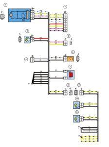 Схема электрических соединений жгута проводов заднего дополнительного (жгута проводов двери задка) и жгута проводов фонарей освещения номерного знака автомобиля Лада Калина 11194.