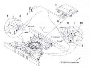 Схема электрических соединений узла сочленения автобуса ЛиАЗ-621321.