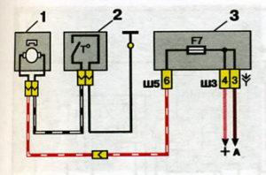 Схема включения электродвигателя системы охлаждения двигателя ВАЗ-2110.