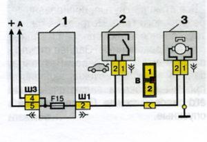 Схема включения замка багажника автомобилей семейства ВАЗ-2110.
