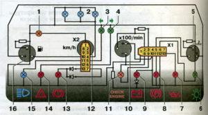 Схема соединений контрольных приборов автомобилей семейства ВАЗ-2110.