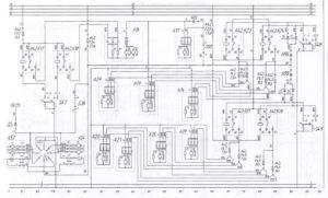 Схема отопления салона, фронтального отопителя и электроуправляемых зеркалавтобуса ЛиАЗ-621321.