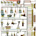 Схема соединений системы управления двигателем ВАЗ-2111 с распределённым впрыском топлива под нормы токсичности России (контроллер М1.5.4) автомобилей ВАЗ-21102, -2111, -21122.