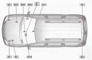 """Расположение клемм """"массы"""" элементов электрооборудования Лада Ларгус."""