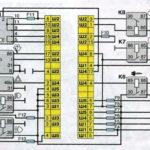 Схема соединений монтажного блока Лада Ваз-2110.