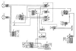 Электрическая схема систем отопления, звуковой сигнализации и стеклоочистки автомобилей КамАЗ