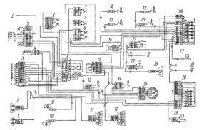 Электрическая схема системы световой сигнализации автомобилей КамАЗ