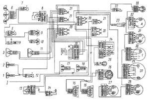 Электрическая схема системы наружного и внутреннего освещения автомобилей КамАЗ
