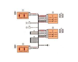 Схема электрических соединений жгута проводов обогрева сидений автомобилей Лада 2114, 2115.