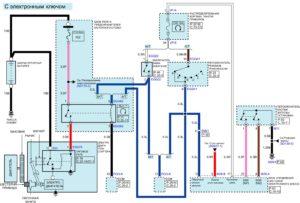 Электрическая принципиальная схема системы запуска автомобиля Kia Rio