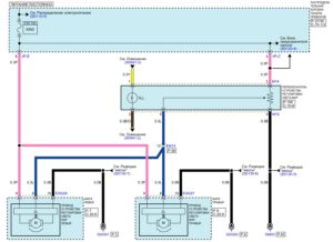 Электрическая принципиальная схема системы корректора фар (HLLD) автомобиля Kia Rio