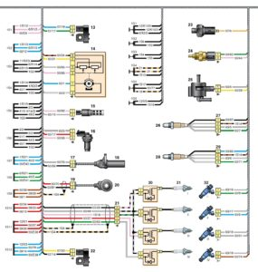 Схема соединений переднего жгута проводов Kia Rio