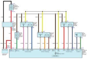 Электрическая принципиальная схема системы управления кондиционером автомобиля Kia Rio