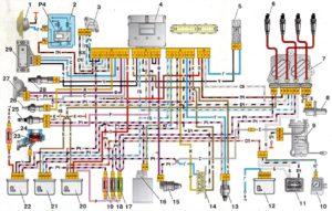 Схема электрических соединений ЭСУД GM, ВАЗ-2107 с центральным впрыском топлива.