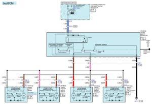Электрическая принципиальная схема системы централизованной блокировки замков дверей автомобиля Kia Rio