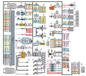 Схема электрических соединений жгута проводов системы зажигания 21214 - 3724026-44 (Нива, Лада 4х4).