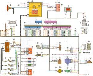 Схема электрических соединений ЭСУД ЕВРО-2 GM ВАЗ-2108, 2109 с двигателем 2111
