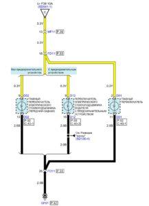 Электрическая принципиальная схема освещения автомобиля Kia Rio