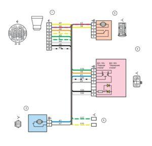 Схема электрических соединений жгута проводов передней правой двери Лада Гранта