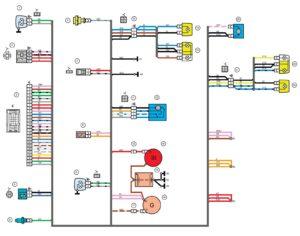 Схема электрических соединений жгута проводов переднего 21214 - 3724010-44 (Нива, Лада 4х4).