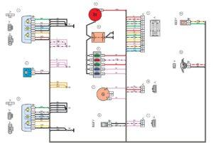Схема электрических соединений жгута проводов переднего Лада Гранта
