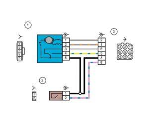 Схема электрических соединений жгута проводов коробки воздухопритокаЛада Гранта