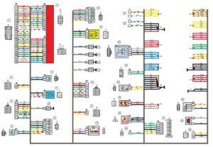 Схема электрических соединений жгута проводов заднего 21703 - 3724210-00 (Лада Приора).