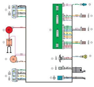 Схема электрических соединений жгута проводов переднего 21134 - 3724010-40 (Лада Самара).