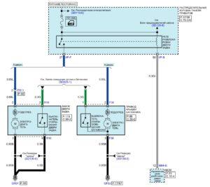 Электрическая принципиальная схема системы открытия двери задка автомобиля Kia Rio