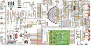 Схема электрооборудования автомобиля ВАЗ-21102 с системой впрыска топлива M1.5.4N и ЯНВАРЬ-5.1 (16-ти клапанная).