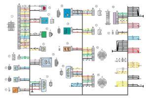 Схема электрических соединений жгута проводов заднего Лада Гранта