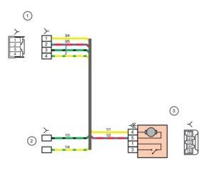 Схема электрических соединений жгута проводов задней двери Лада Гранта
