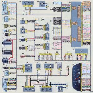 Схема электрооборудования автомобиля выпуска до 2009 г Шевроле Нива.