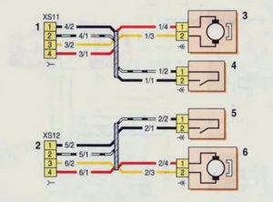 Схема соединений жгутов проводов левой и правой задних дверей (с 2009 г.) Шевроле Нива.