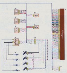 Схема соединений жгута проводов системы управления двигателем (с 2009 г.) Шевроле Нива.