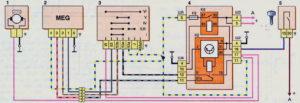 Схема включения очистителя и омывателя ветрового стекла (до 2009 г.) Шевроле Нива.