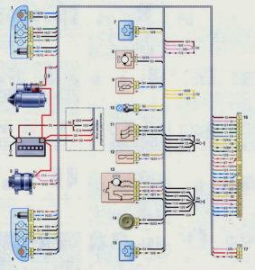 Схема соединений переднего жгута проводов (с 2009 г.) Шевроле Нива.