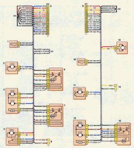 Схема соединений жгутов проводов левой и правой передних дверей (с 2009 г.) Шевроле Нива.