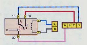 Схема соединений выключателя зажигания (до 2009 г.) Шевроле Нива.