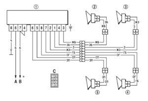 Схема подключения радиоаппарата и динамиков, встроенных в двери автомобиля Шевроле Нива.